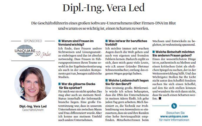 """Vera Led im Interview der Beilage Der Standard """"Frauen in Toppositionen"""""""