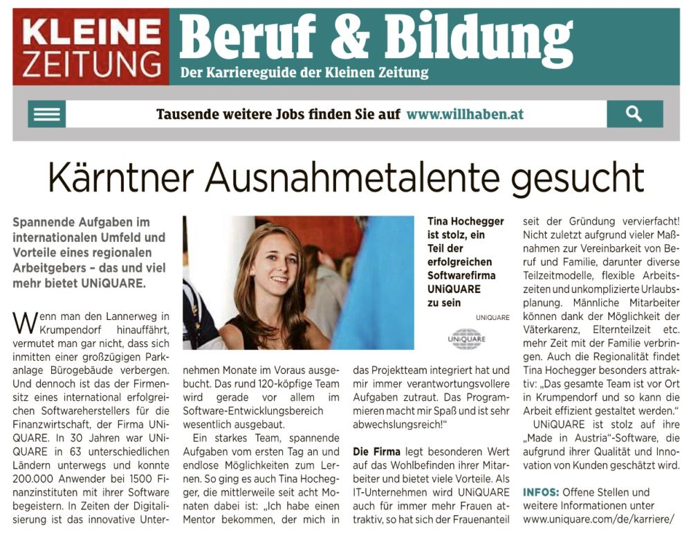 Kleine Zeitung about UNiQUARE and exceptional talents