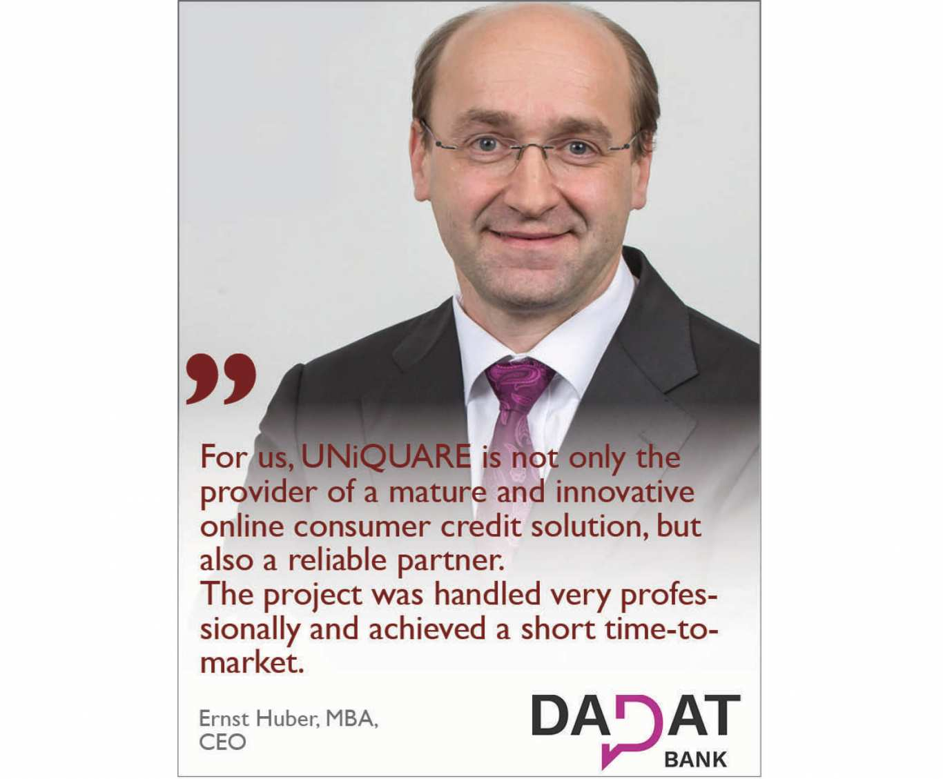 UNiQUARE customer DADAT Bank was voted the best direct bank in Austria