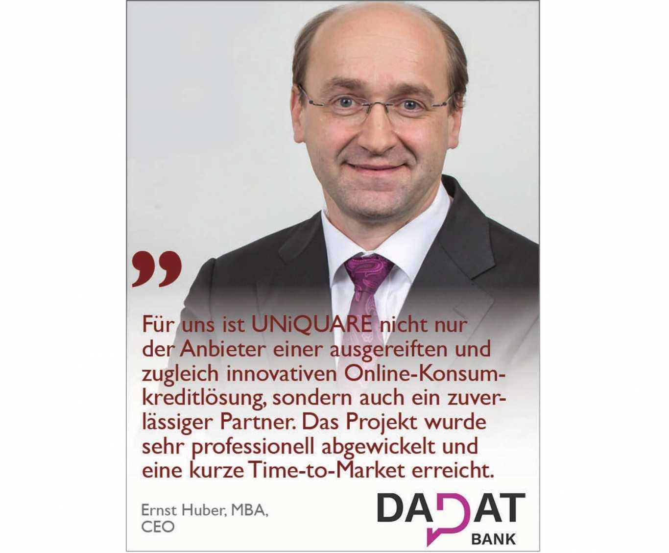 UNiQUARE Kunde DADAT zur besten Direktbank Österreichs gewählt