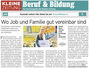 Kleine Zeitung about family friendliness at the highest level at UNiQUARE
