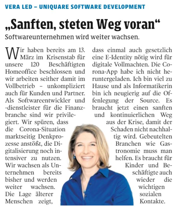 Vera Led spoke with the newspaper Kleine Zeitung about the way we deal with the Corona situation