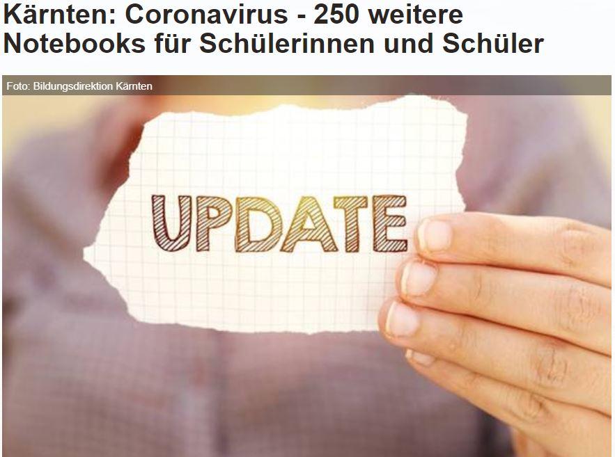 Das Land Kärnten berichtet auch über unseren Beitrag im Homeschooling-Projekt